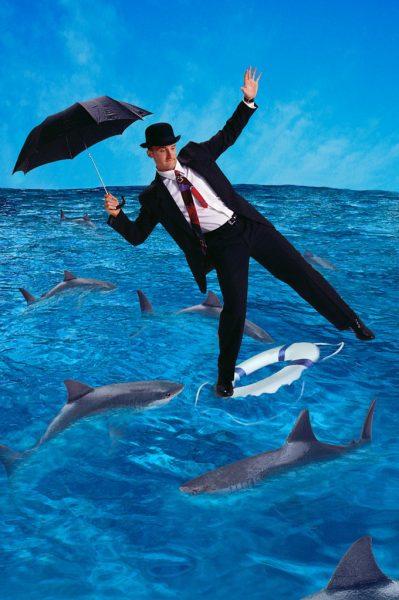 Man and sharks